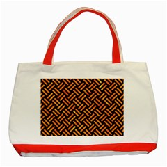 Woven2 Black Marble & Orange Marble Classic Tote Bag (red) by trendistuff