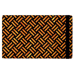 Woven2 Black Marble & Orange Marble Apple Ipad 2 Flip Case by trendistuff