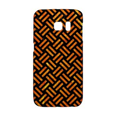Woven2 Black Marble & Orange Marble Samsung Galaxy S6 Edge Hardshell Case by trendistuff