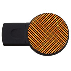 Woven2 Black Marble & Orange Marble (r) Usb Flash Drive Round (2 Gb) by trendistuff