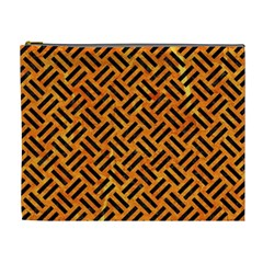 Woven2 Black Marble & Orange Marble (r) Cosmetic Bag (xl) by trendistuff