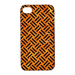 Woven2 Black Marble & Orange Marble (r) Apple Iphone 4/4s Hardshell Case With Stand by trendistuff