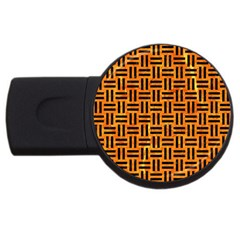 Woven1 Black Marble & Orange Marble (r) Usb Flash Drive Round (2 Gb) by trendistuff