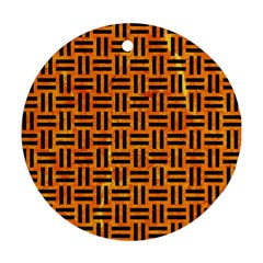 Woven1 Black Marble & Orange Marble (r) Round Ornament (two Sides) by trendistuff