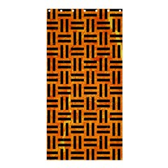 Woven1 Black Marble & Orange Marble (r) Shower Curtain 36  X 72  (stall) by trendistuff
