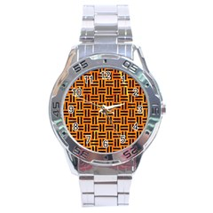 Woven1 Black Marble & Orange Marble (r) Stainless Steel Analogue Watch by trendistuff