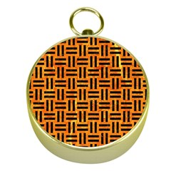 Woven1 Black Marble & Orange Marble (r) Gold Compass by trendistuff