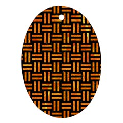 Woven1 Black Marble & Orange Marble Oval Ornament (two Sides) by trendistuff