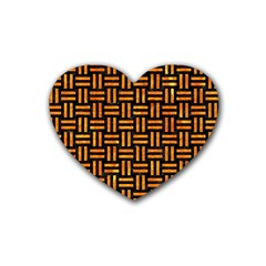 Woven1 Black Marble & Orange Marble Rubber Coaster (heart) by trendistuff