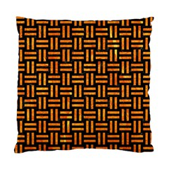Woven1 Black Marble & Orange Marble Standard Cushion Case (two Sides) by trendistuff