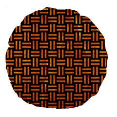 Woven1 Black Marble & Orange Marble Large 18  Premium Flano Round Cushion  by trendistuff