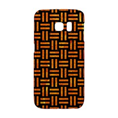 Woven1 Black Marble & Orange Marble Samsung Galaxy S6 Edge Hardshell Case by trendistuff