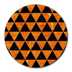 Triangle3 Black Marble & Orange Marble Round Mousepad by trendistuff