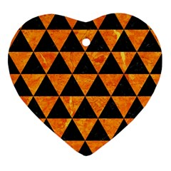 Triangle3 Black Marble & Orange Marble Ornament (heart) by trendistuff