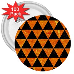 Triangle3 Black Marble & Orange Marble 3  Button (100 Pack) by trendistuff