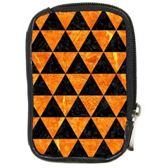 Triangle3 Black Marble & Orange Marble Compact Camera Leather Case by trendistuff
