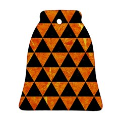 Triangle3 Black Marble & Orange Marble Ornament (bell) by trendistuff