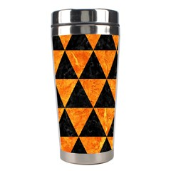 Triangle3 Black Marble & Orange Marble Stainless Steel Travel Tumbler by trendistuff