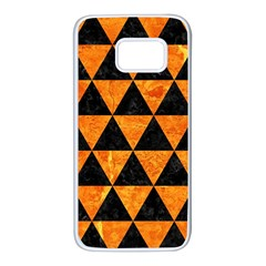 Triangle3 Black Marble & Orange Marble Samsung Galaxy S7 White Seamless Case by trendistuff