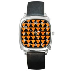 Triangle2 Black Marble & Orange Marble Square Metal Watch by trendistuff