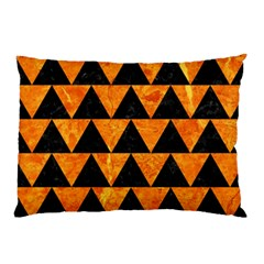 Triangle2 Black Marble & Orange Marble Pillow Case by trendistuff