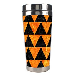 Triangle2 Black Marble & Orange Marble Stainless Steel Travel Tumbler by trendistuff