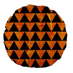 Triangle2 Black Marble & Orange Marble Large 18  Premium Flano Round Cushion  by trendistuff