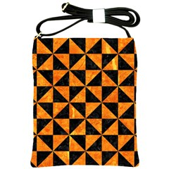 Triangle1 Black Marble & Orange Marble Shoulder Sling Bag by trendistuff