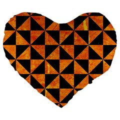 Triangle1 Black Marble & Orange Marble Large 19  Premium Heart Shape Cushion by trendistuff