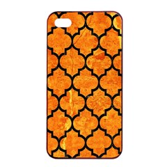 Tile1 Black Marble & Orange Marble (r) Apple Iphone 4/4s Seamless Case (black) by trendistuff