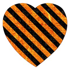 Stripes3 Black Marble & Orange Marble (r) Jigsaw Puzzle (heart) by trendistuff