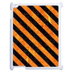Stripes3 Black Marble & Orange Marble (r) Apple Ipad 2 Case (white) by trendistuff