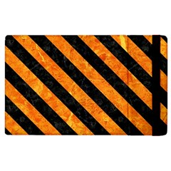 Stripes3 Black Marble & Orange Marble (r) Apple Ipad 3/4 Flip Case by trendistuff