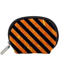 Stripes3 Black Marble & Orange Marble (r) Accessory Pouch (small)