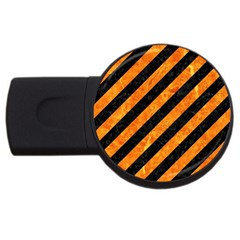 Stripes3 Black Marble & Orange Marble Usb Flash Drive Round (2 Gb)