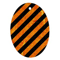 Stripes3 Black Marble & Orange Marble Oval Ornament (two Sides) by trendistuff