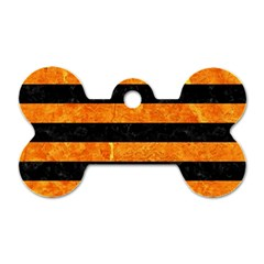 Stripes2 Black Marble & Orange Marble Dog Tag Bone (two Sides) by trendistuff