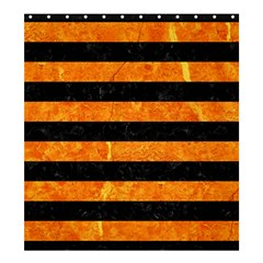 Stripes2 Black Marble & Orange Marble Shower Curtain 66  X 72  (large) by trendistuff