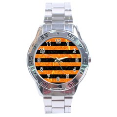 Stripes2 Black Marble & Orange Marble Stainless Steel Analogue Watch by trendistuff