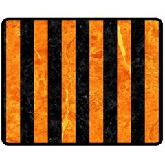 Stripes1 Black Marble & Orange Marble Fleece Blanket (medium) by trendistuff