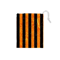 Stripes1 Black Marble & Orange Marble Drawstring Pouch (small)