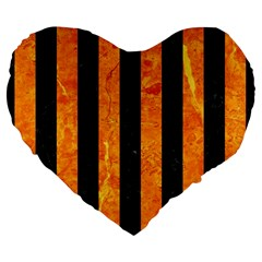 Stripes1 Black Marble & Orange Marble Large 19  Premium Flano Heart Shape Cushion by trendistuff