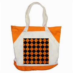 Square2 Black Marble & Orange Marble Accent Tote Bag by trendistuff