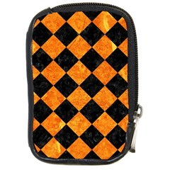 Square2 Black Marble & Orange Marble Compact Camera Leather Case