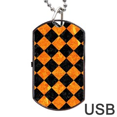 Square2 Black Marble & Orange Marble Dog Tag Usb Flash (one Side) by trendistuff