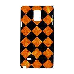 Square2 Black Marble & Orange Marble Samsung Galaxy Note 4 Hardshell Case by trendistuff