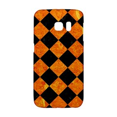 Square2 Black Marble & Orange Marble Samsung Galaxy S6 Edge Hardshell Case by trendistuff