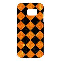 Square2 Black Marble & Orange Marble Samsung Galaxy S7 Edge Hardshell Case