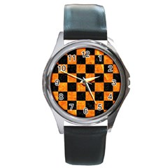 Square1 Black Marble & Orange Marble Round Metal Watch