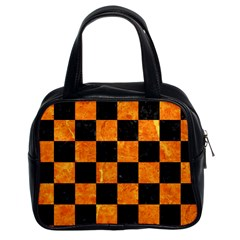 Square1 Black Marble & Orange Marble Classic Handbag (two Sides) by trendistuff